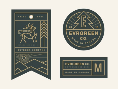 Evrgreen Co. Tag System typography outdoor deer tree tag logo apparel lockup branding mountains clothing layout