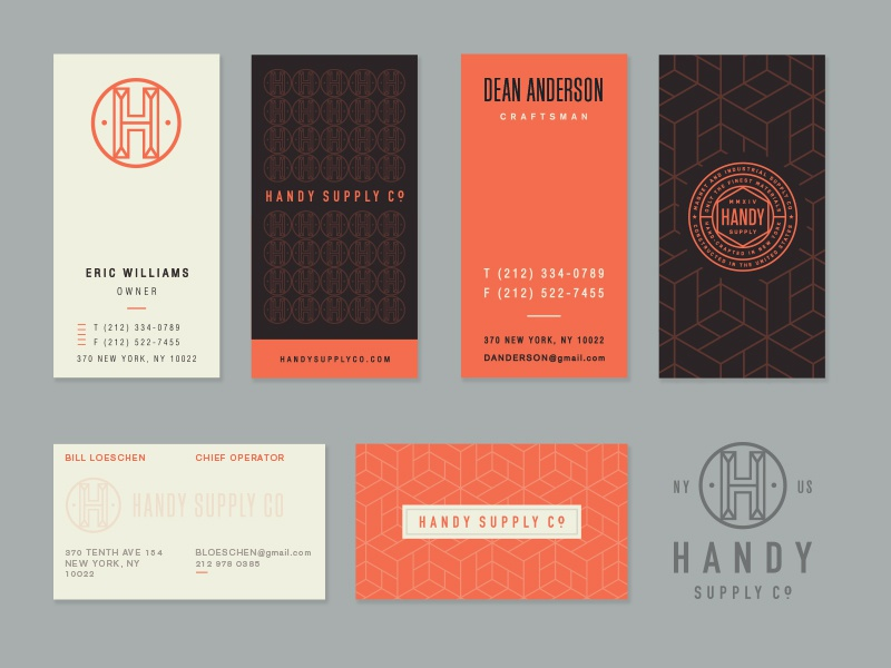 Handy Supply Bus. Cards Options branding monogram layout seal logo stationery tag print pattern typography business card badge
