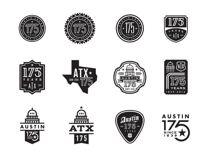 Austin 175th Anniversary Logo branding austin anniversary logo lockup city 175 capital badge vintage typography texas