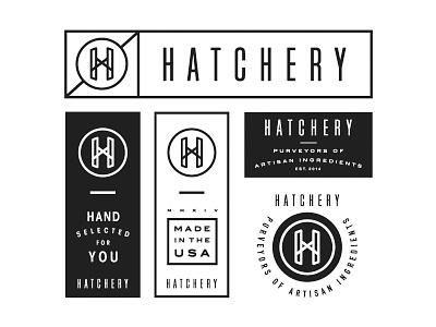 Hatchery Logo Option 4 branding design layout badge logo system tag logo custom type lockup hatchery typography food