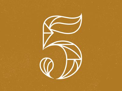 5 logo outline grid vintage typography 5 line lettering five number font texture