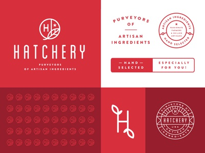 Hatchery Branding System lockup logo branding icon illustration crest food typography monogram badge leaf pattern