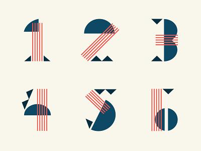 Numbers line custom font typography number vintage overlap modern geometric one logo illustration