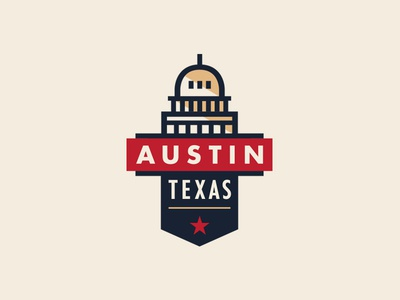 ATX Badge linework banner building typography texas austin capital branding logo lockup crest badge