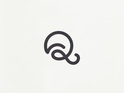 Q icon mark custom type typography font ligature motion monogram branding logo letter q