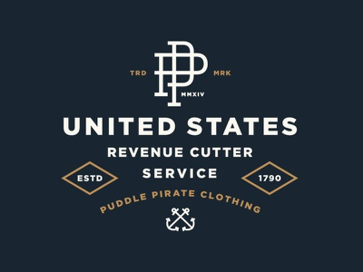 U.S. Revenue Cutter Service apparel vintage sea monogram usa nautical anchor lockup typography branding logo shirt