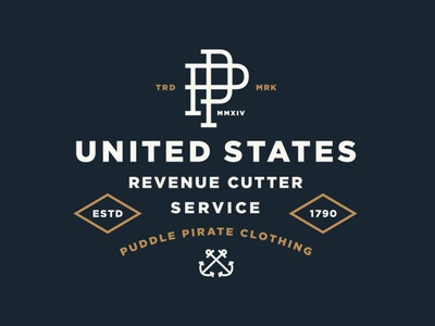 U.S. Revenue Cutter Service apparel vintage sea monogram usa nautical anchor lockup typography branding logo shirt