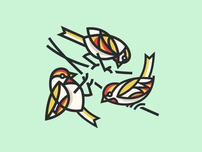 Bird Trio nature icon vintage simple outline line logo modern sparrow animal llustration bird