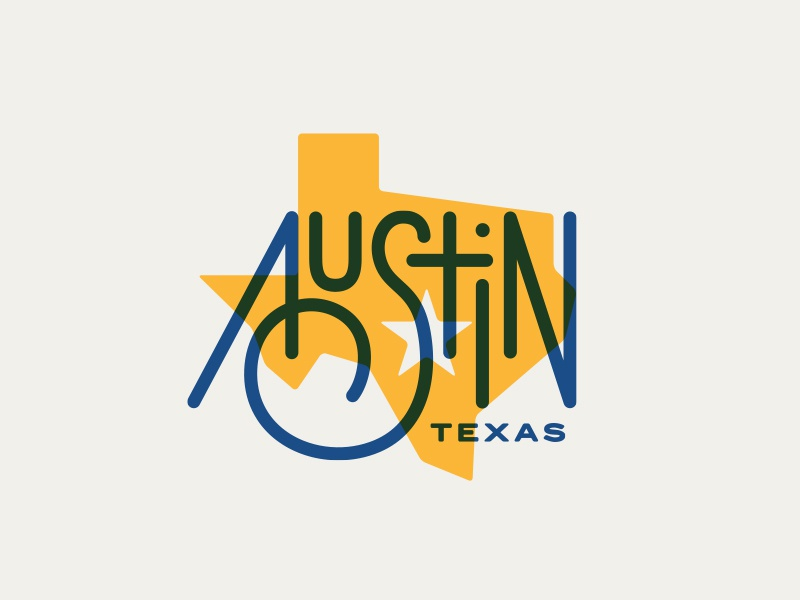 Austin state san serif custom type city vintage icon branding illustration typography texas austin logo