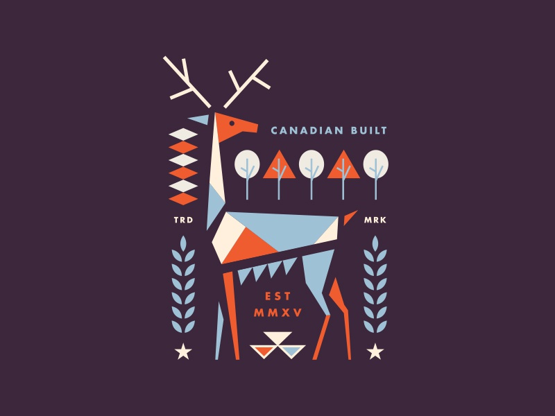 Canadian Built forrest mid century branding geometric animal tree logo vintage illustration nature canada deer
