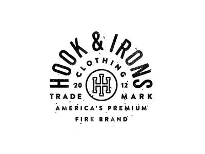 Hook & Irons t shirt fireman texture america crest badge monogram typography logo lockup apparel shirt