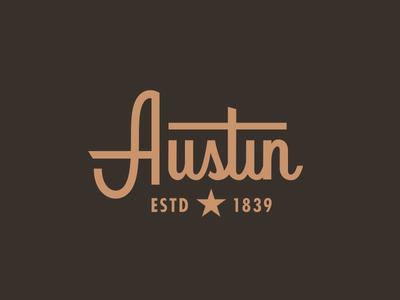 Austin capital custom type city star cowboy vintage western typography texas logo script austin