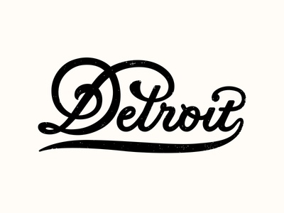 Motor City branding motor curve michigan ligature tail logo texture vintage detroit city script