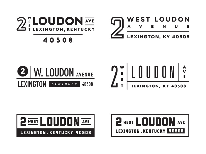 Address Lockups footer business stamp number lexington typography kentucky branding logo lockup address