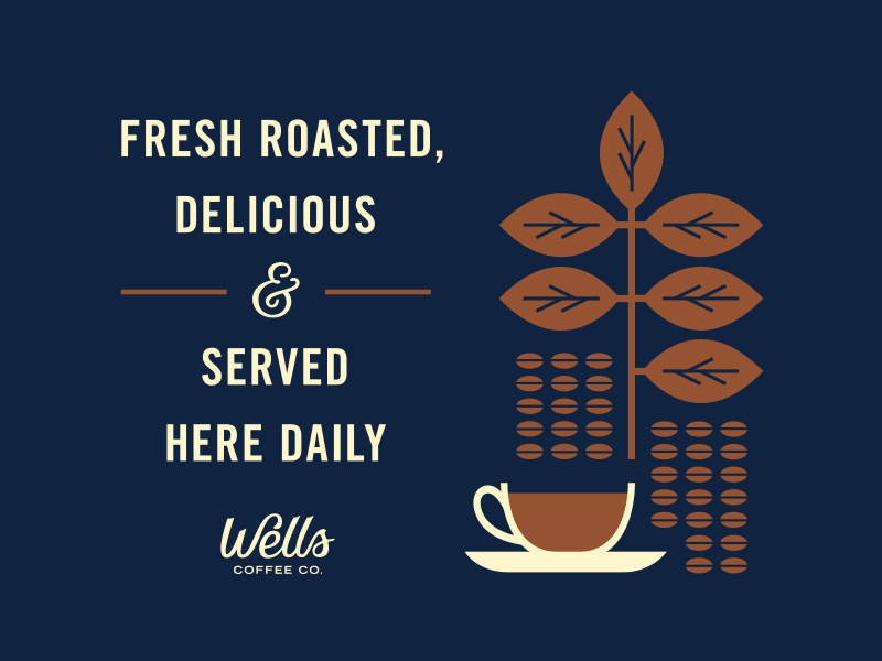 Wells Coffee Co. business logo branding ampersand cup leaf typography illustration coffee sign