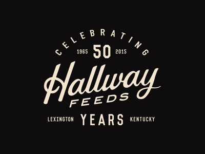 Hallway Feeds racing horse vintage typography badge lockup kentucky branding logo script