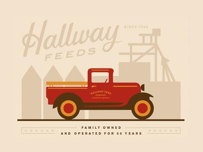 Hallway Feeds II mill vintage farm branding car truck script typography illustration