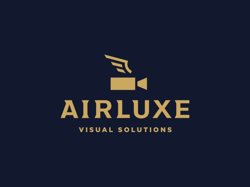 Airluxe Logo elegant typography custom type symbol icon branding video camera wing lockup logo