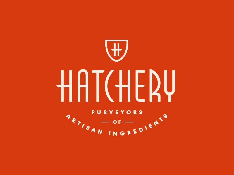 Hatchery  retro crest badge shield vintage typography food lockup mark branding logo