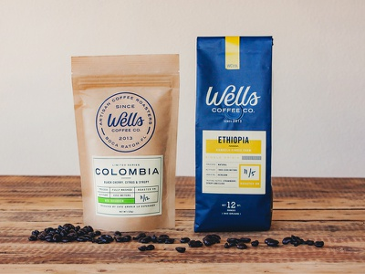 Wells Coffee Packaging badge layout typography drink food label crest seal logo branding packaging coffee