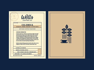 Wells Coffee Information Card branding logo stamp badge seal food drink illustration typography card layout coffee