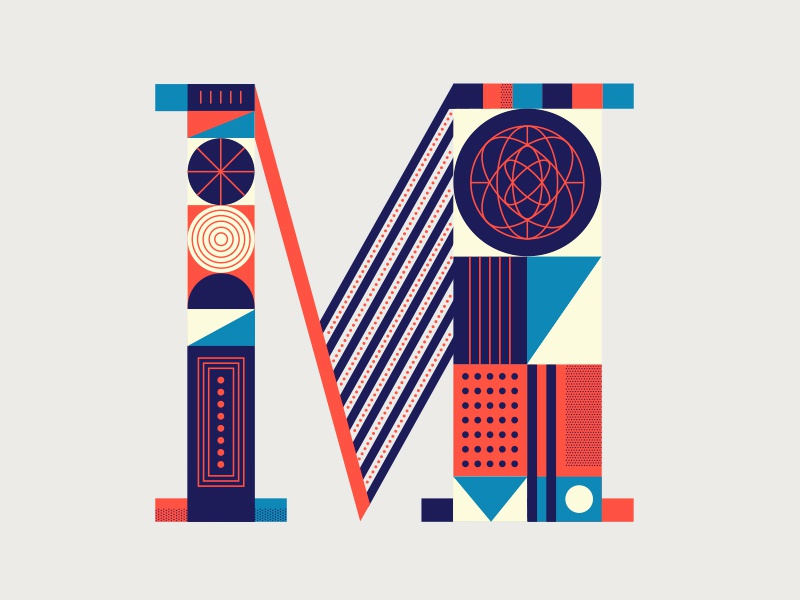 Letter M line typography shapes geometric science vintage branding modern pattern m letter