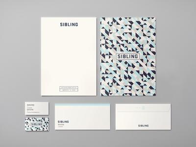 Sibling Identity System logotype geometric identity print letterhead business card typography pattern stationary branding logo