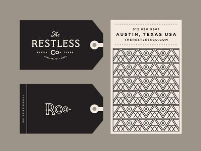 The Restless Co. II monogram triangle austin pattern lockup card photo typography branding logo tag