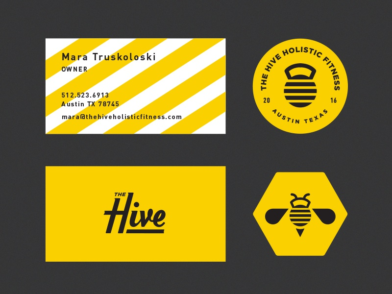 The Hive crest austin gym training button badge typography business card stationary branding logo bee