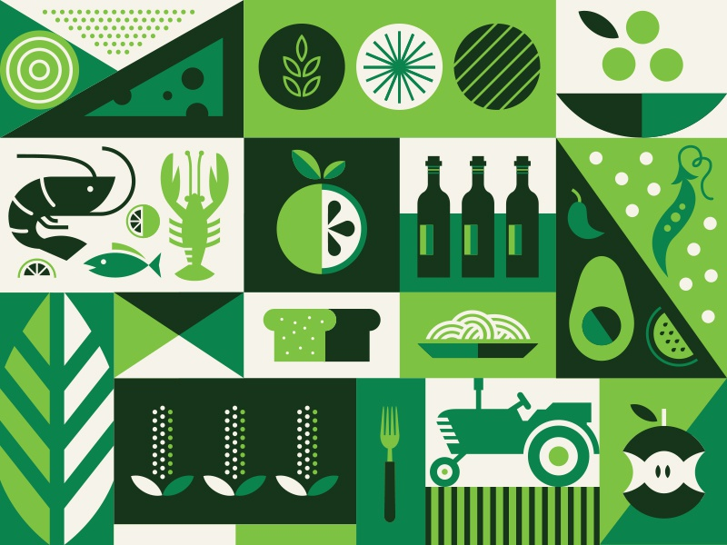 Whole Foods Gift Card wine tractor bread seafood geometric vegetable card fruit farm pattern illustration food