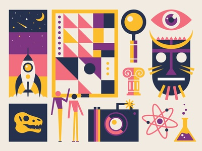 Museum column science camera painting mask space rocket dinosaur geometric modern illustration museum