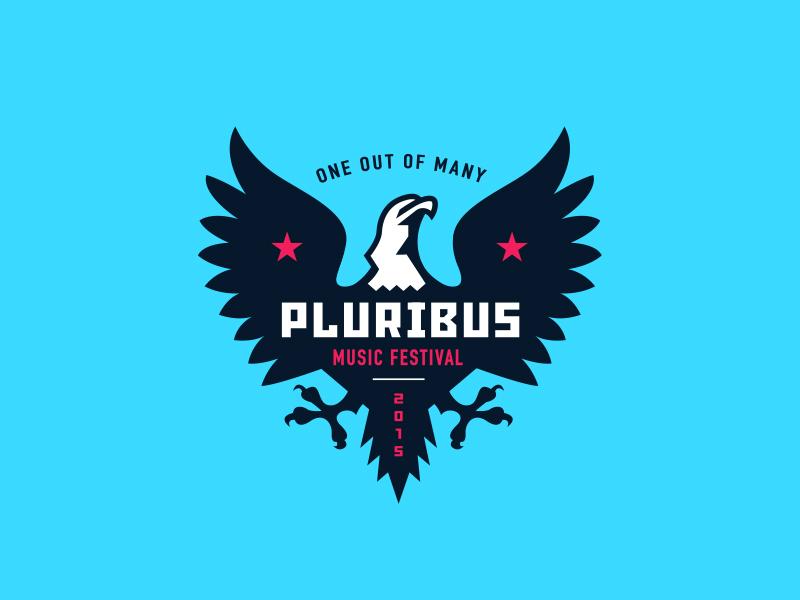 Pluribus Music Festival illustration music badge icon event typography usa eagle identity branding logo festival