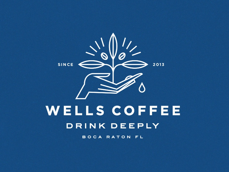 Wells Coffee restaurant drink lockup symbol icon plant hand illustration typography branding logo coffee