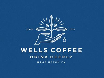 Wells Coffee restaurant drink lockup symbol icon plant hand illustration typography branding logo coffee