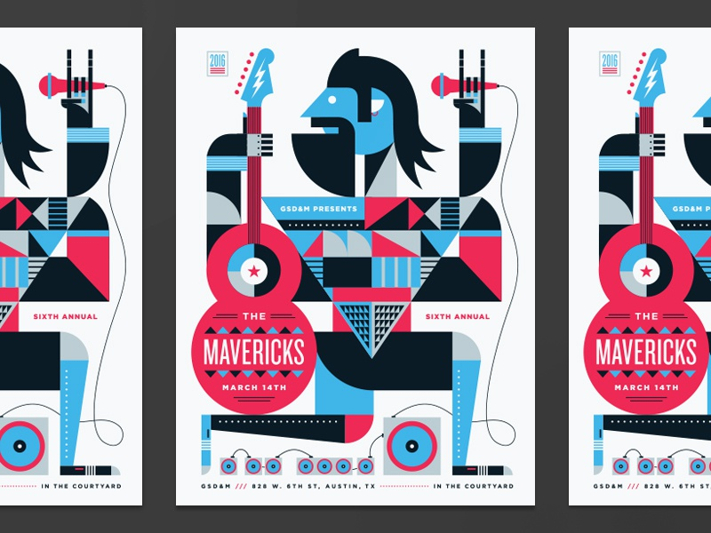 Mavericks Poster party people face lockup pattern speaker geometric illustration typography guitar music poster