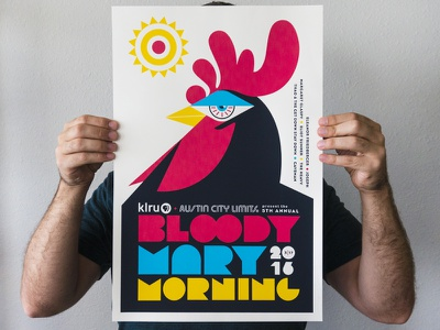2016 Bloody Mary Morning Poster vintage print alcohol bird logo sxsw typography illustration rooster event austin poster