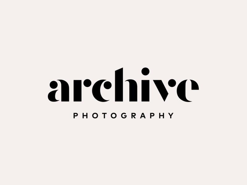 Archive  modern photo branding mark lockup stencil identity logotype typography logo photography