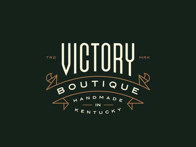 Victory Boutique southern typography banner flourish high end shop kentucky identity logo lockup racing horse
