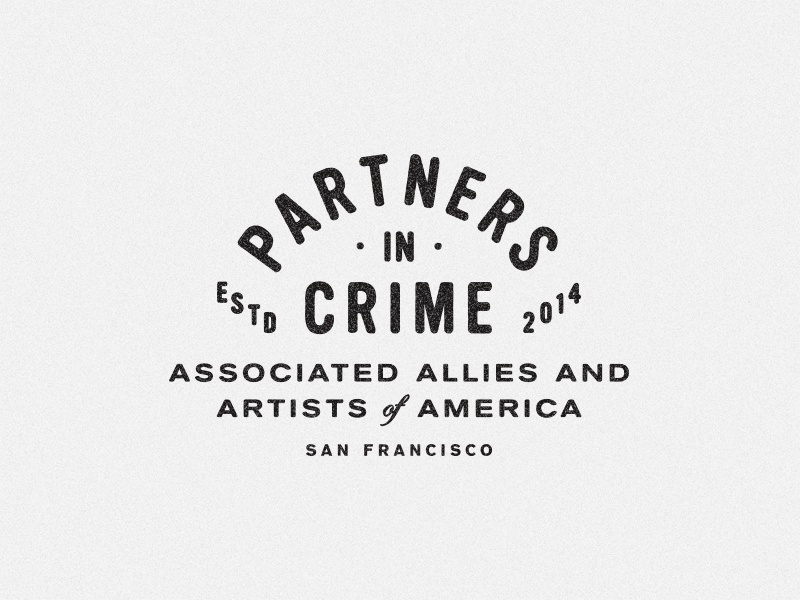 Partners In Crime II crest logotype identity agency vintage badge branding america typography san francisco lockup logo