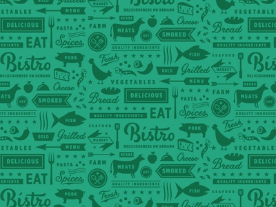 Bistro fresh eat script illustration branding logo typography animal packaging food farm pattern