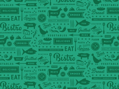Bistro fresh eat script illustration branding logo typography animal packaging food farm pattern