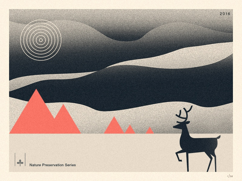 Nature Preservation Series I sky wild typography leaf logo forrest illustration mountains deer outdoors nature poster