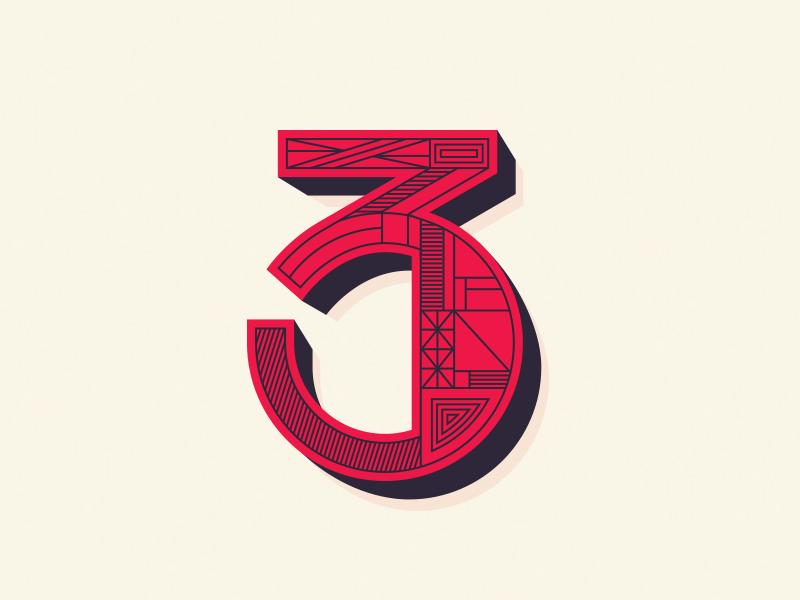 3 typography austin block lettering shape line 3d pattern illustration logo number 3