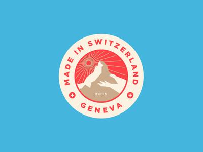 Swiss Made outdoors geneva europe switzerland stamp crest illustration typography travel mountain swiss badge