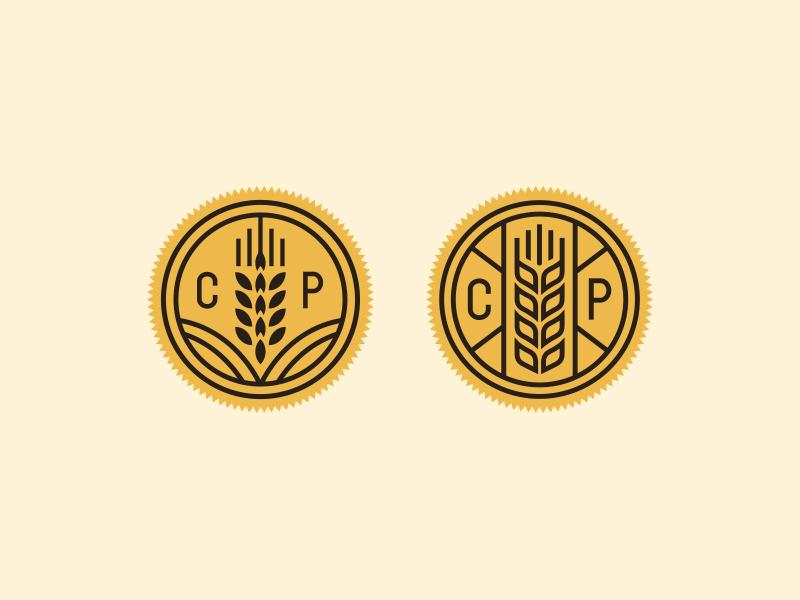 Wheat Badges illustration typography farm grain food branding monogram restaurant icon wheat badge logo