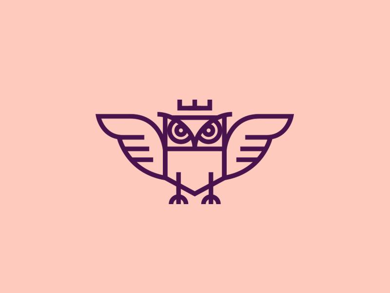 Owl  head wings animal security branding icon wisdom crown illustration bird identity owl