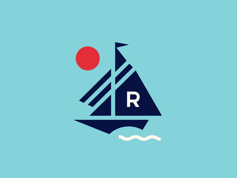 Sailing Mark modern branding illustration water logo ocean ship sail boat