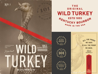 Wild Turkey brand exploration print beverage drink branding crest badge illustration typography logo turkey alcohol bourbon