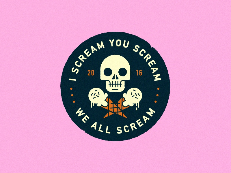 I Scream You Scream death lockup illustration head cone ice cream typography logo badge skull