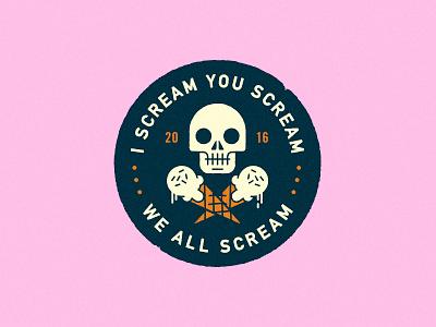 I Scream You Scream death lockup illustration head cone ice cream typography logo badge skull